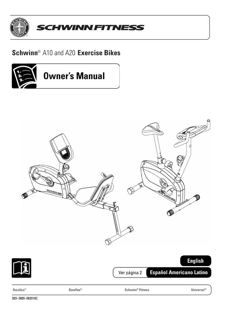 user manual for schwinn exercise bike model a10