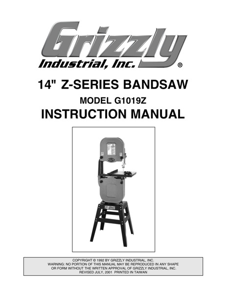 grizzly bandsaw model g9745 manual
