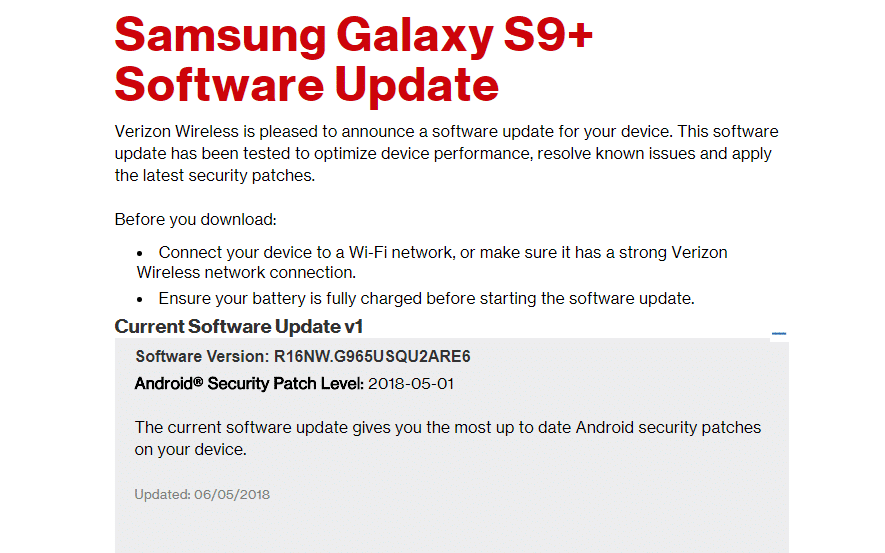 samsung galaxy s9 plus update verizon download manually