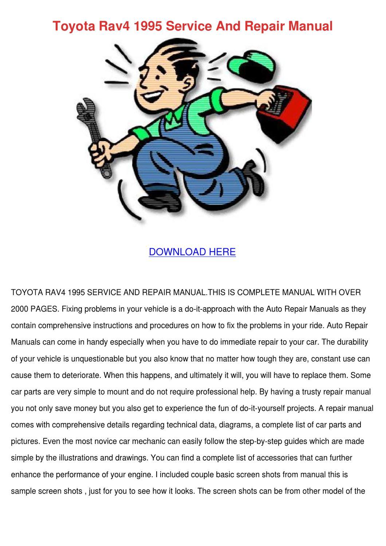 toyota rav4 repair manual download