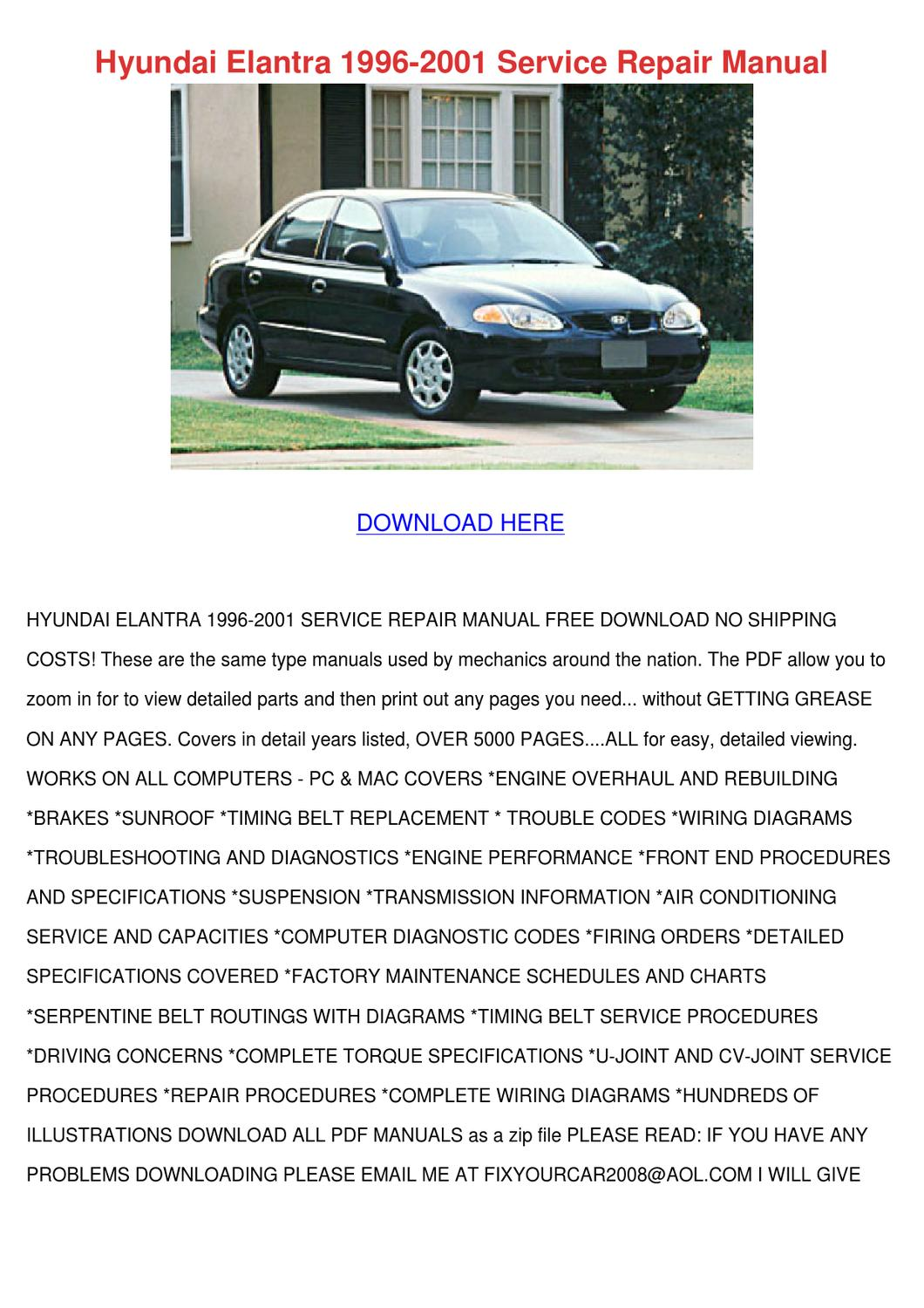 2001 hyundai elantra repair manual free download