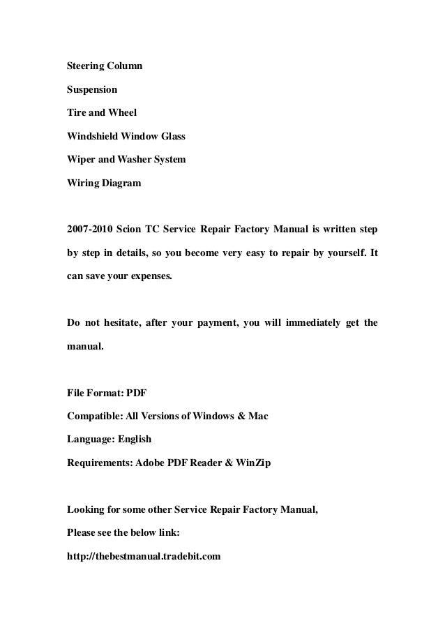 2008 scion tc repair manual pdf free download