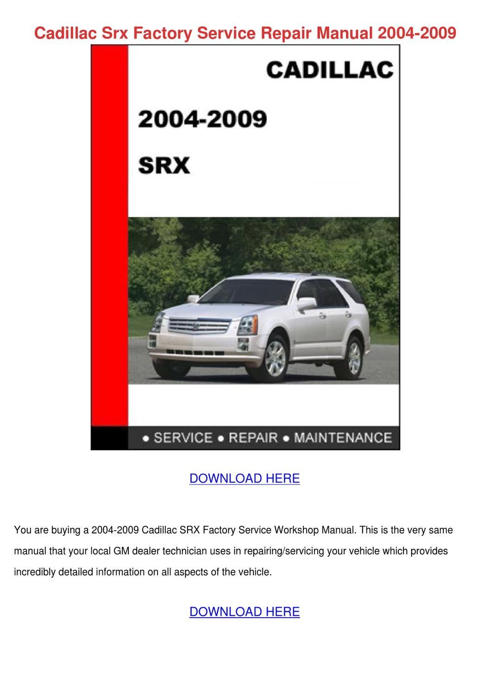 2010 cadillac srx repair manual pdf