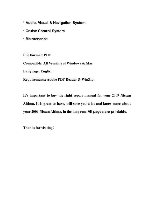 2009 nissan altima manual download