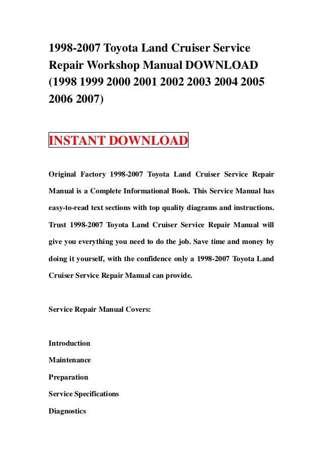 toyota landcruiser workshop manual free download