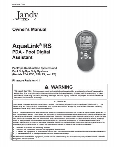 zodiac aqualink model 8265 manual