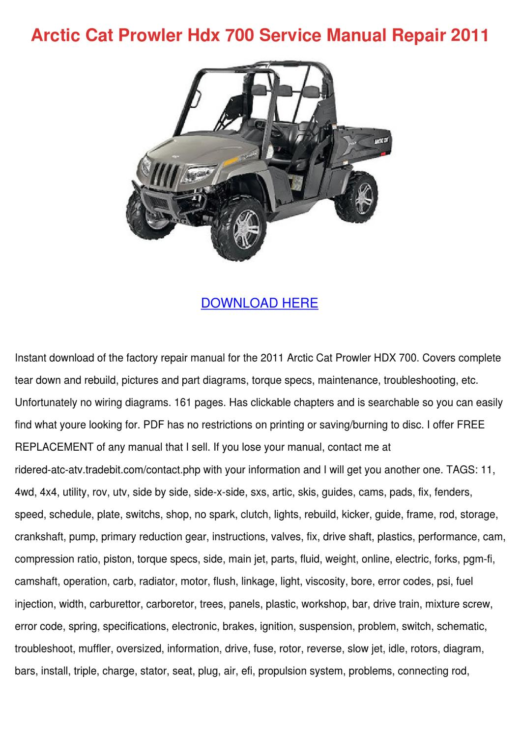 free download service manual 2005 arctic cat side-by-side prowler