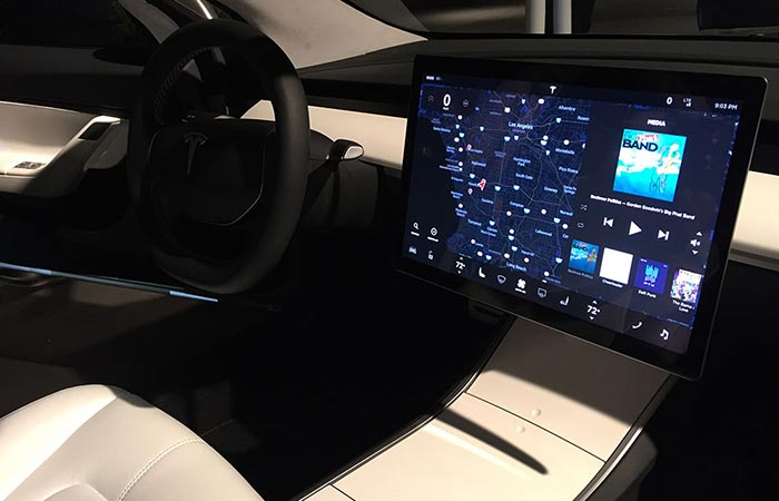 tesla model 3 mid range manual on the screen