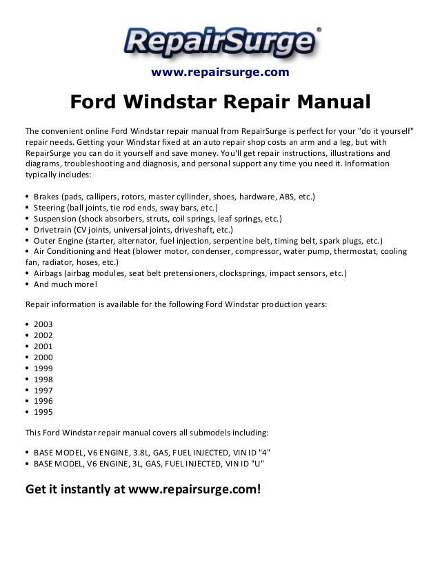1998 ford windstar repair manual free download