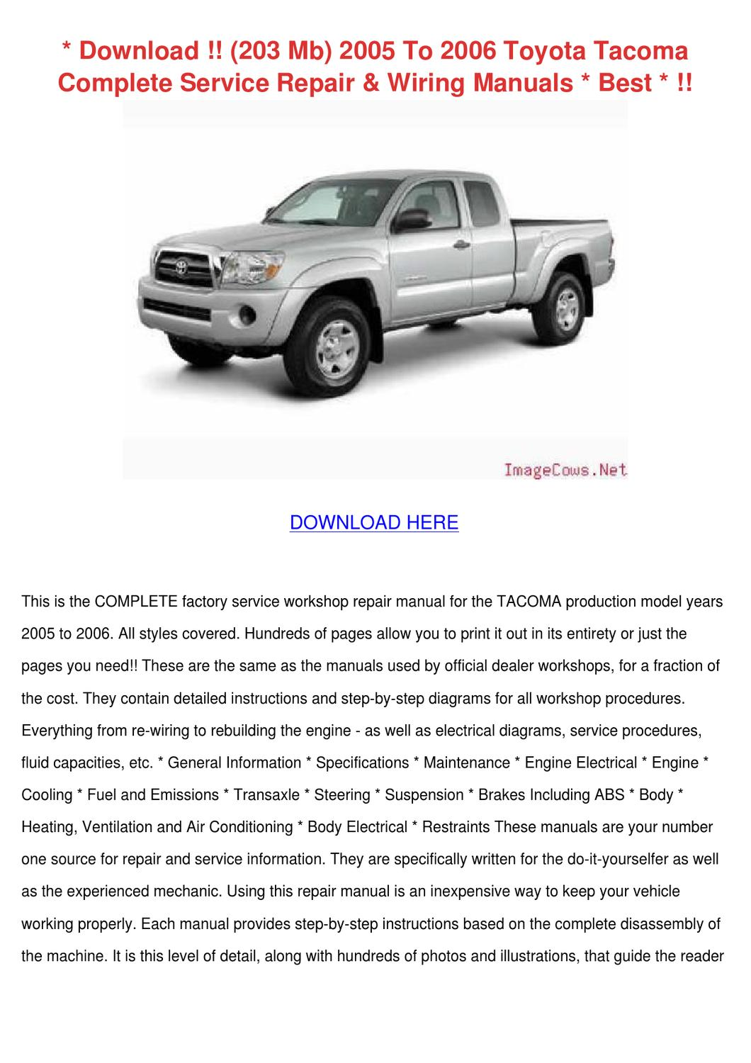 2005 toyota tacoma factory service manual download