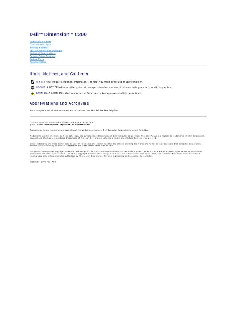 dell inspiron 8200 manual pdf