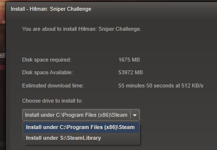 how to specify where to download steam games manually