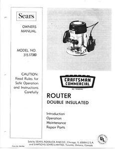 craftsman router model 315.17460 manual