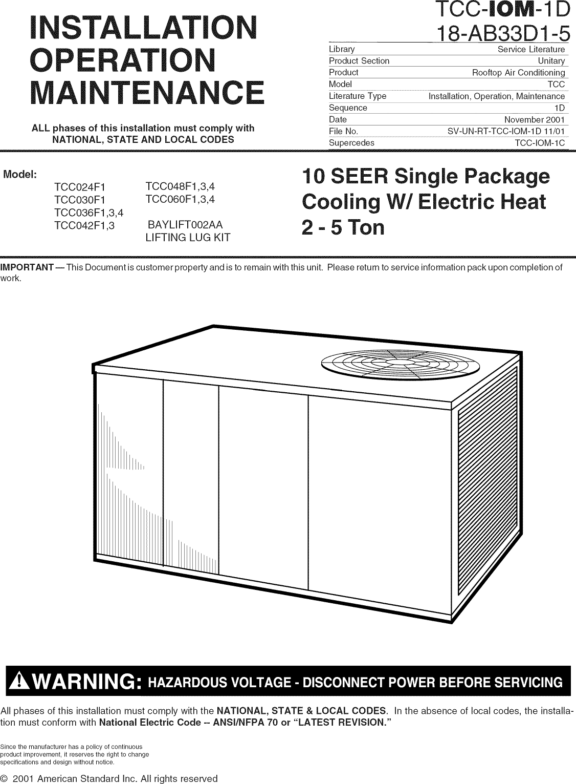 trane model 4tcc4060a1 operating manual