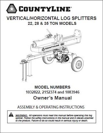 county line log splitter model 2152374 ton manual