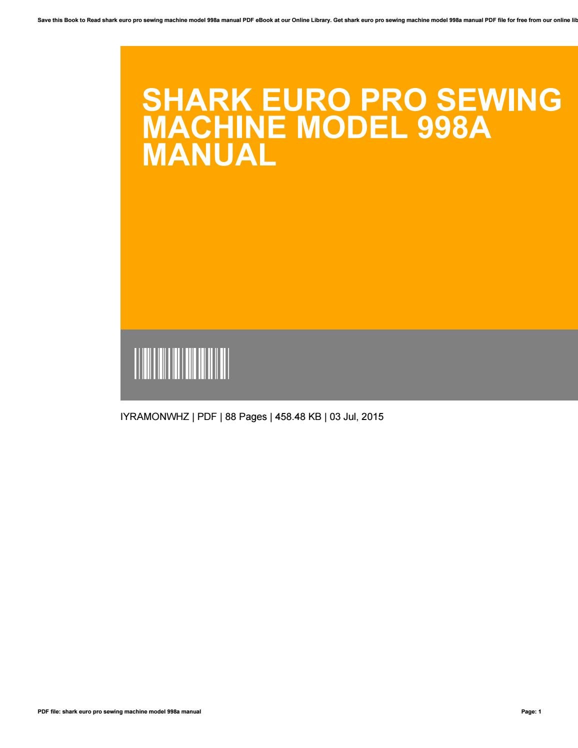 manual for sewing machine shark model 420