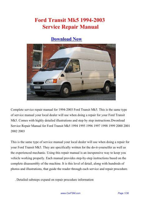 ford transit repair manual free download