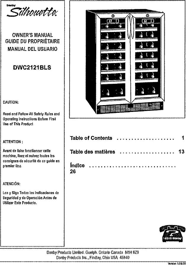 danby wine cooler manual download