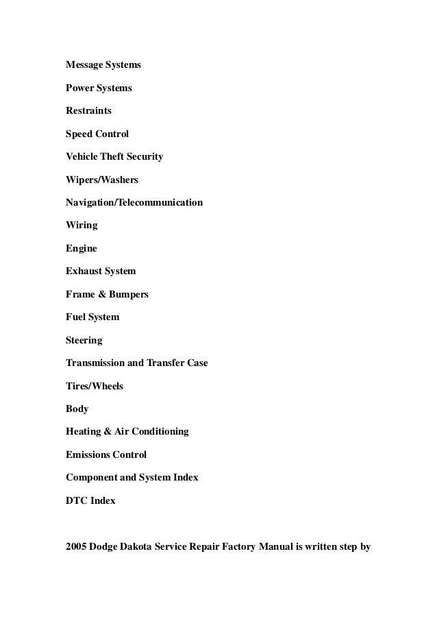 2005 dodge dakota service manual download