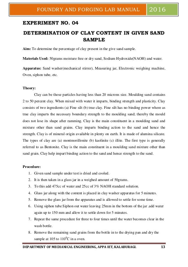 foundry and forging lab manual pdf