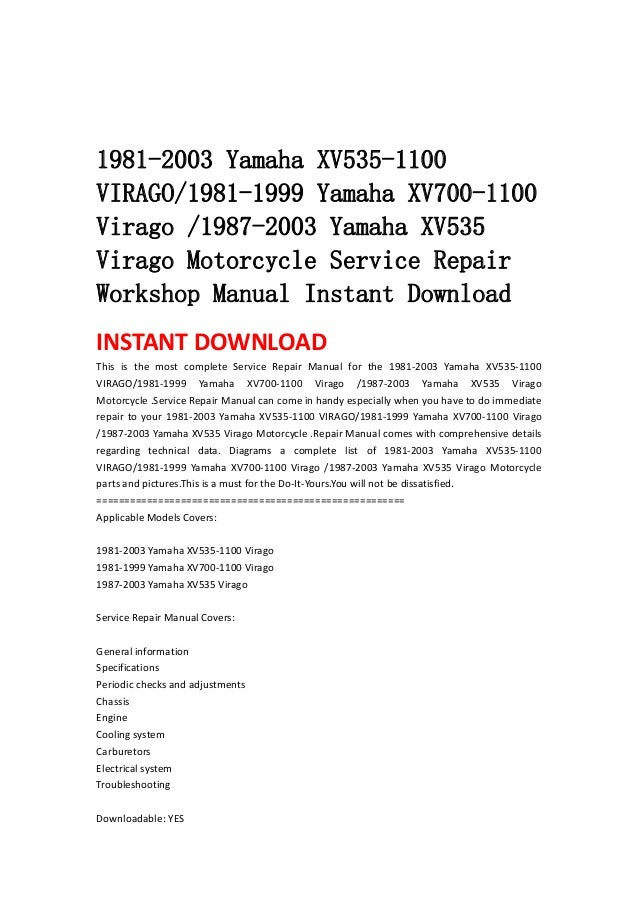 yamaha virago service manual download