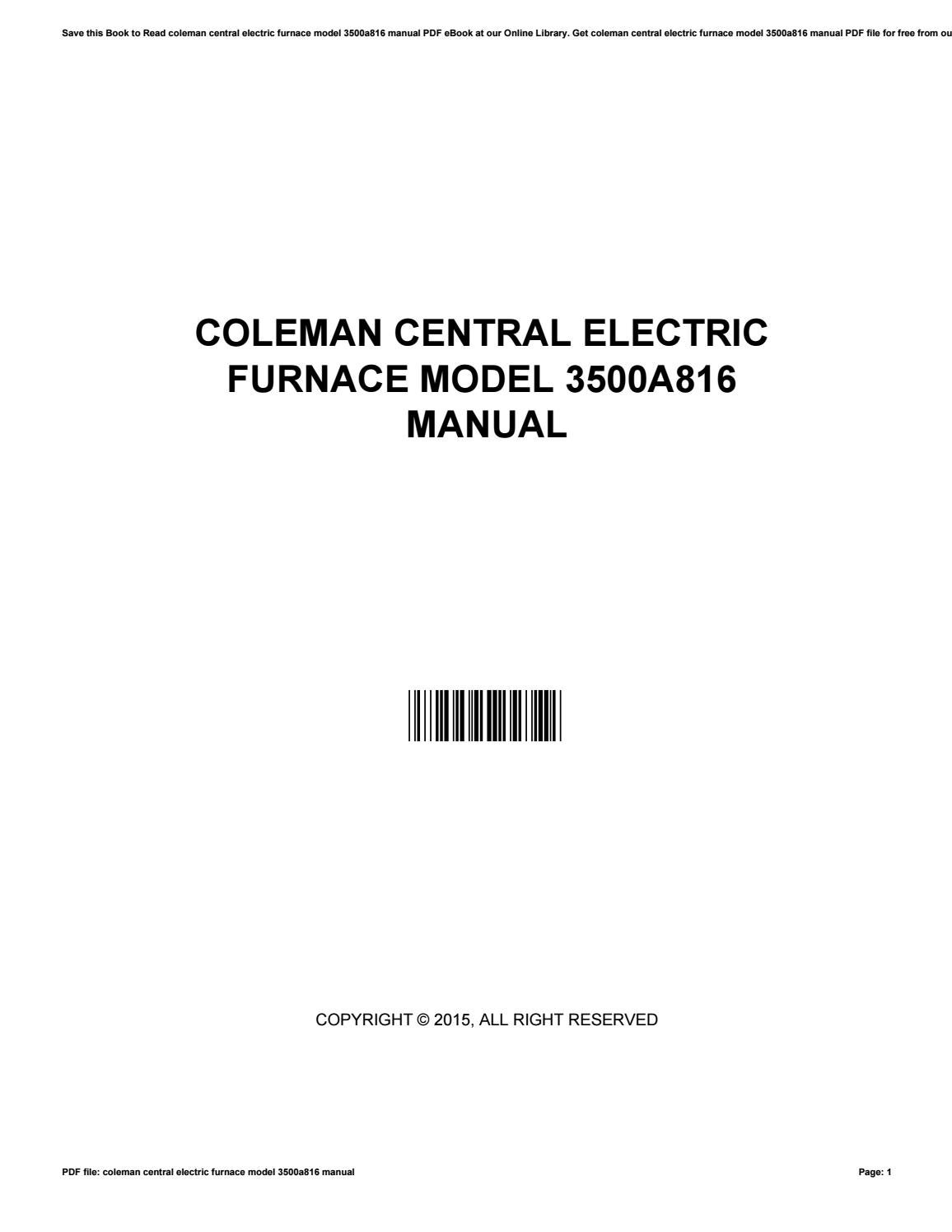 coleman central electric furnace model 3500a816 manual