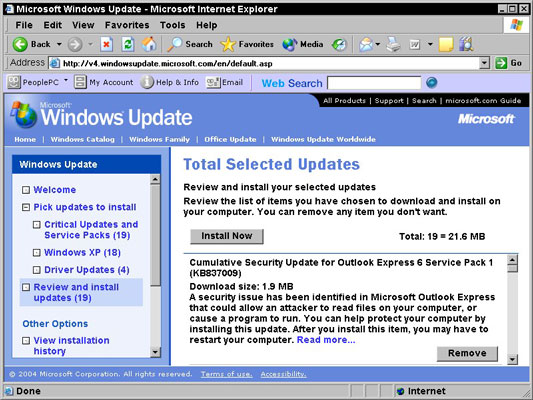 how to download updates for windows xp manually