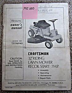 crafstman riding mower model 7000 manual