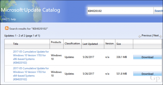 download updates from catalog and manually install windows 10
