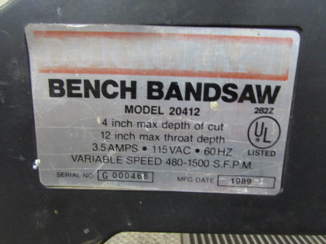 duracraft bandsaw model 20412 manual