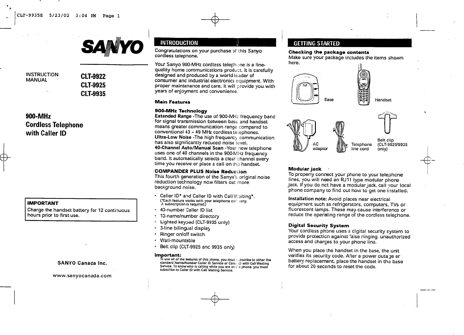 sanyo model scp-6780 user manual