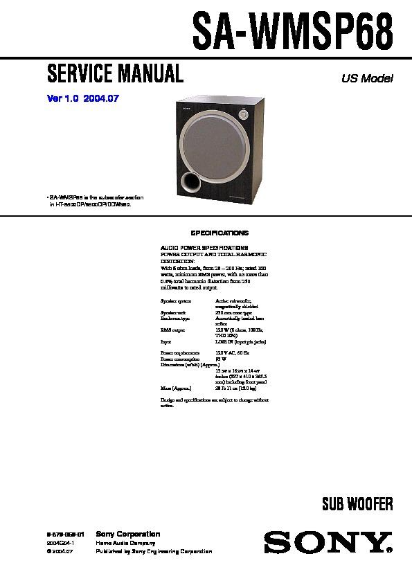 sony subwoofer model pcva-sb1 manual