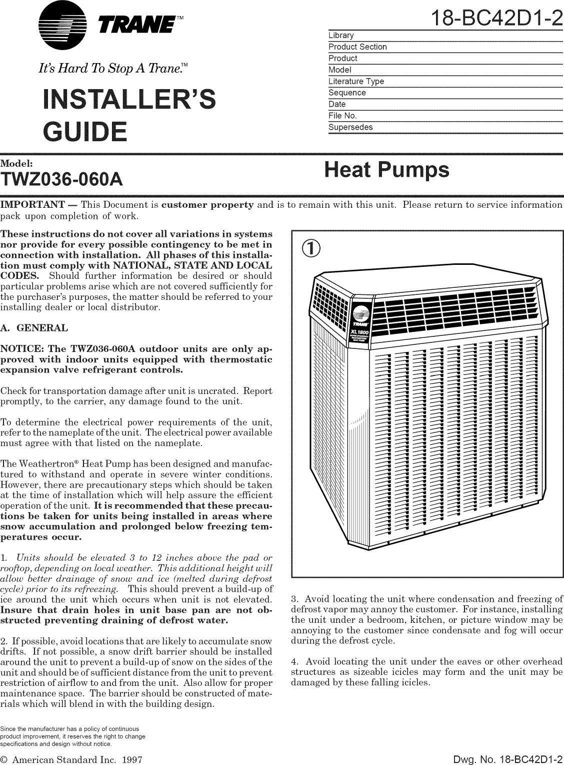 trane airconditioner manual model no wcy036f100aa