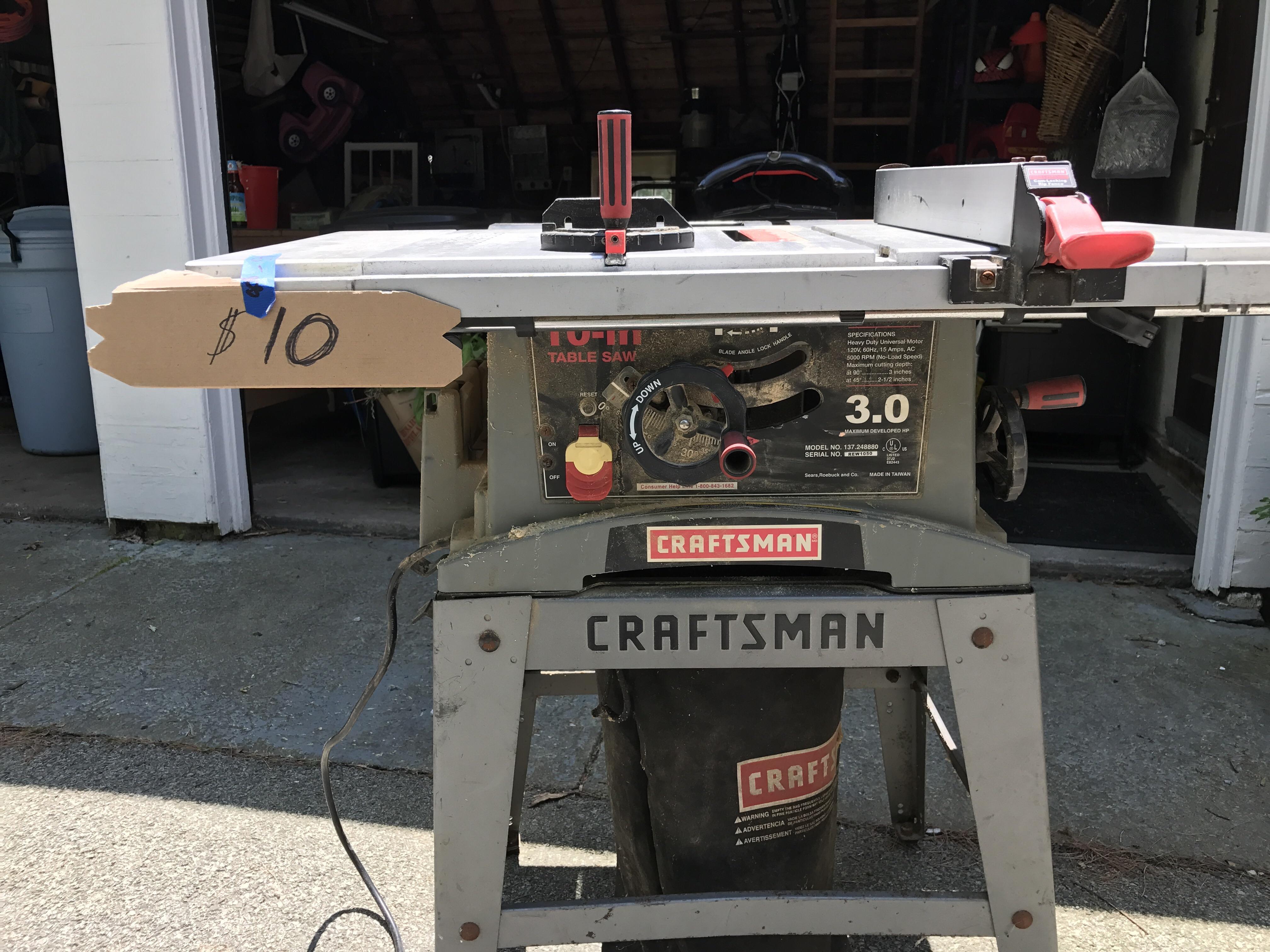 used craftsman model 113.1 table saw manual
